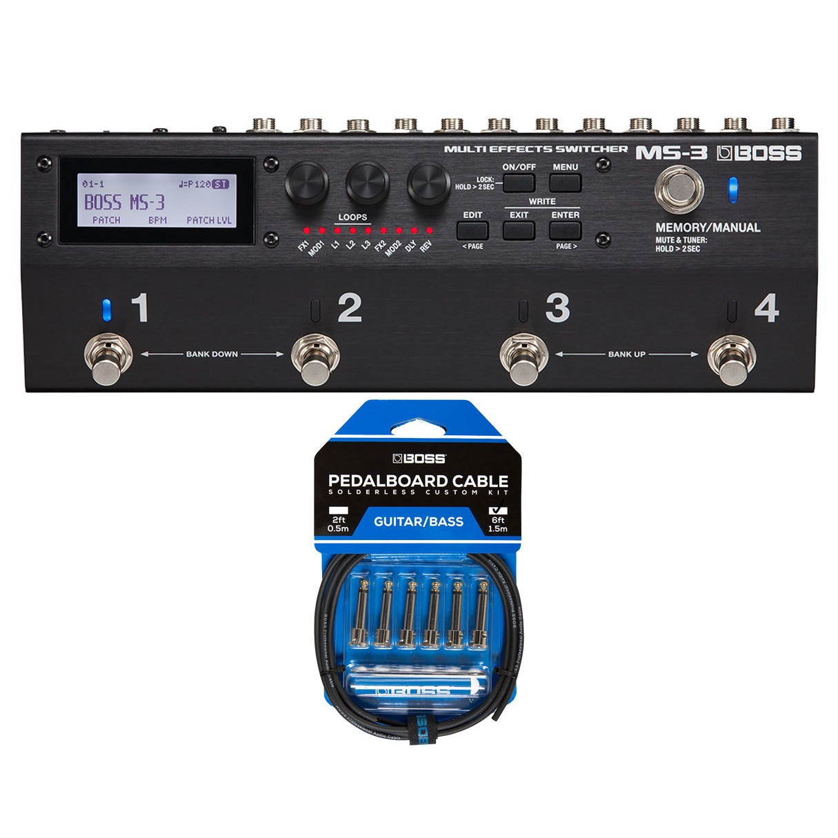 Boss MS-3 Multi-Effects Pedal & Switcher + Boss BCK-6 Pedal Board