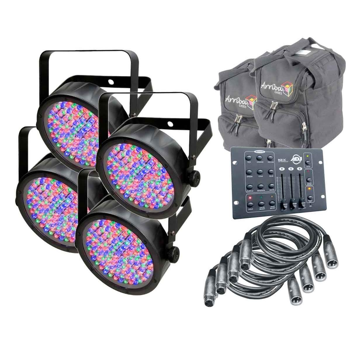 4x chauvet dj slimpar 56 rgb3cir arriba cases ac115 4 dmx cables. Black Bedroom Furniture Sets. Home Design Ideas