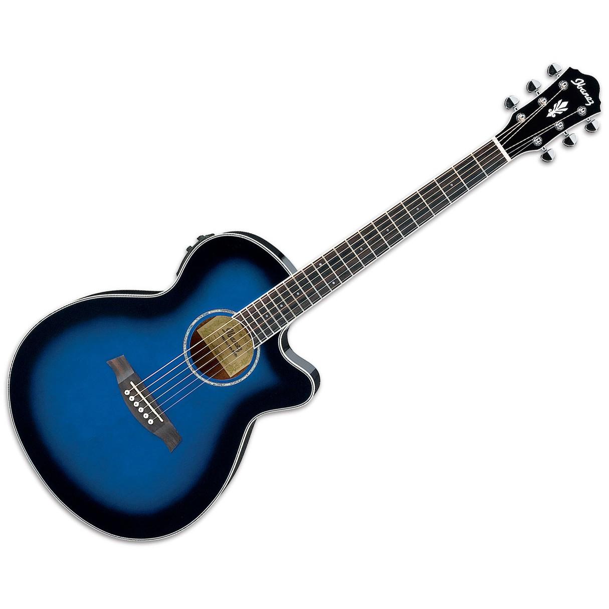 ibanez aeg10ii 6 string acoustic electric guitar transparent blue sunburst gloss. Black Bedroom Furniture Sets. Home Design Ideas