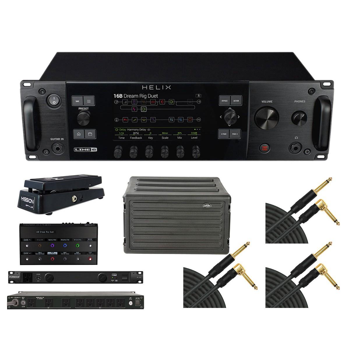 Line 6 Helix Rack + Helix Control + Case + Power Conditioner + Pedal