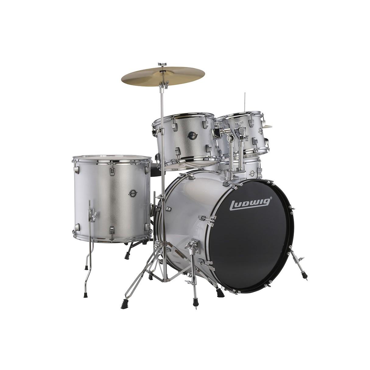 ludwig accent drive 5 piece drum set silver foil. Black Bedroom Furniture Sets. Home Design Ideas