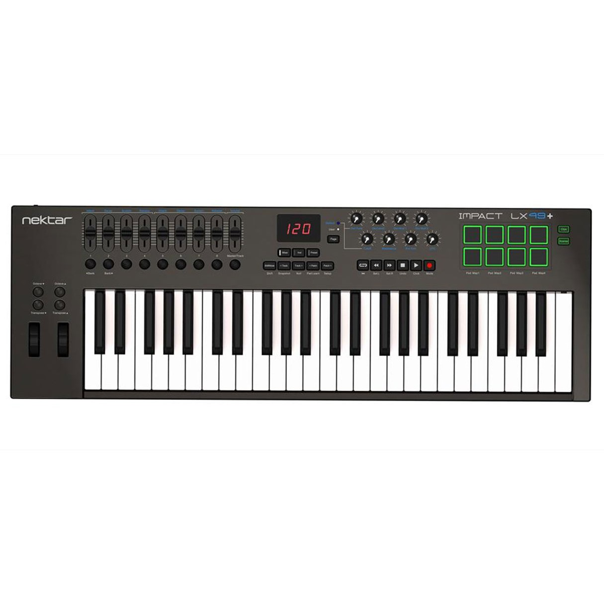 nektar impact lx49 49 key keyboard midi controller with built in daw integration open box. Black Bedroom Furniture Sets. Home Design Ideas