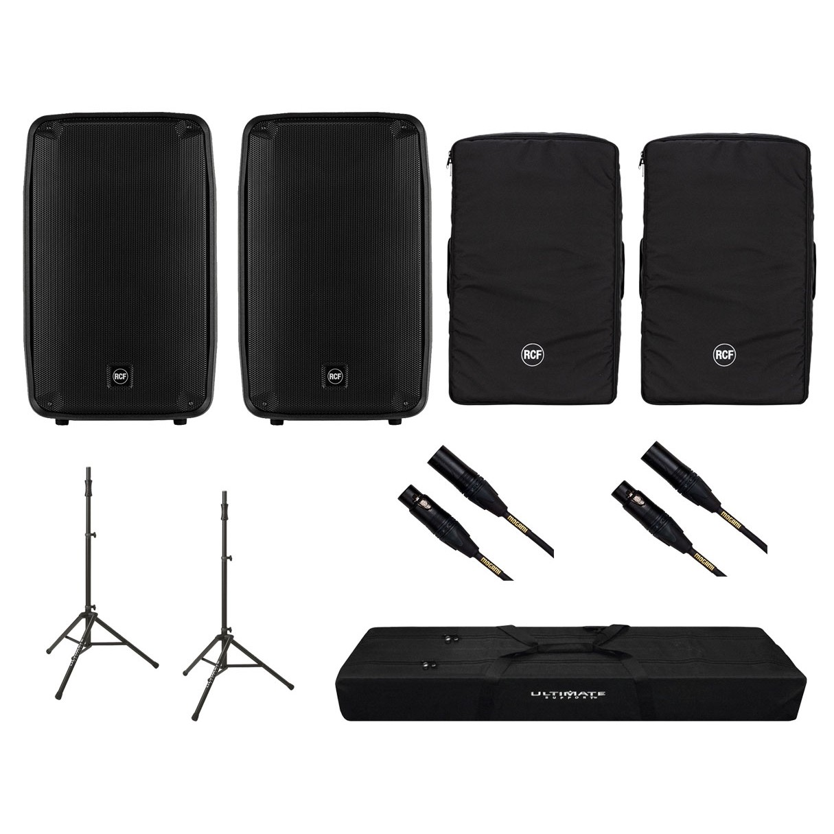 2x RCF HD15-A + Covers + Speaker Stands w/ bag + Mogami Cables