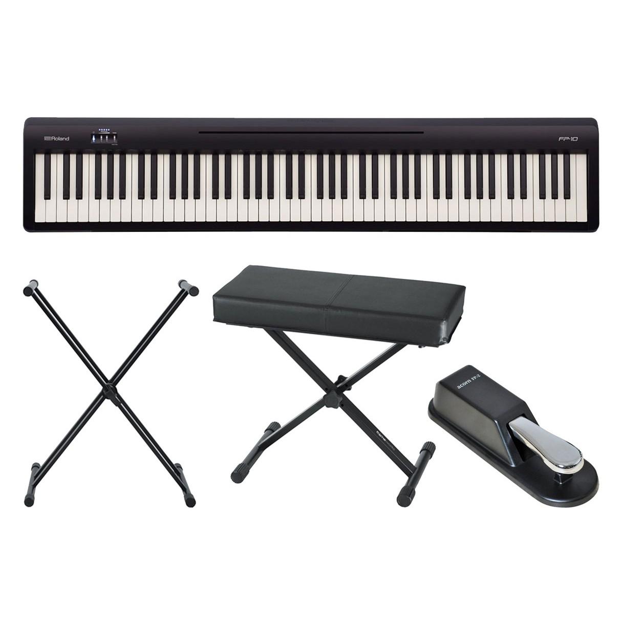 roland fp 10bk digital piano stand bench sustain. Black Bedroom Furniture Sets. Home Design Ideas