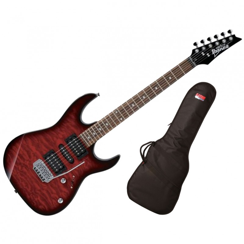 Ibanez GRX70QA 6-String Electric Guitar - Transparent Red With Gator GBE-ELECT Gig Bag