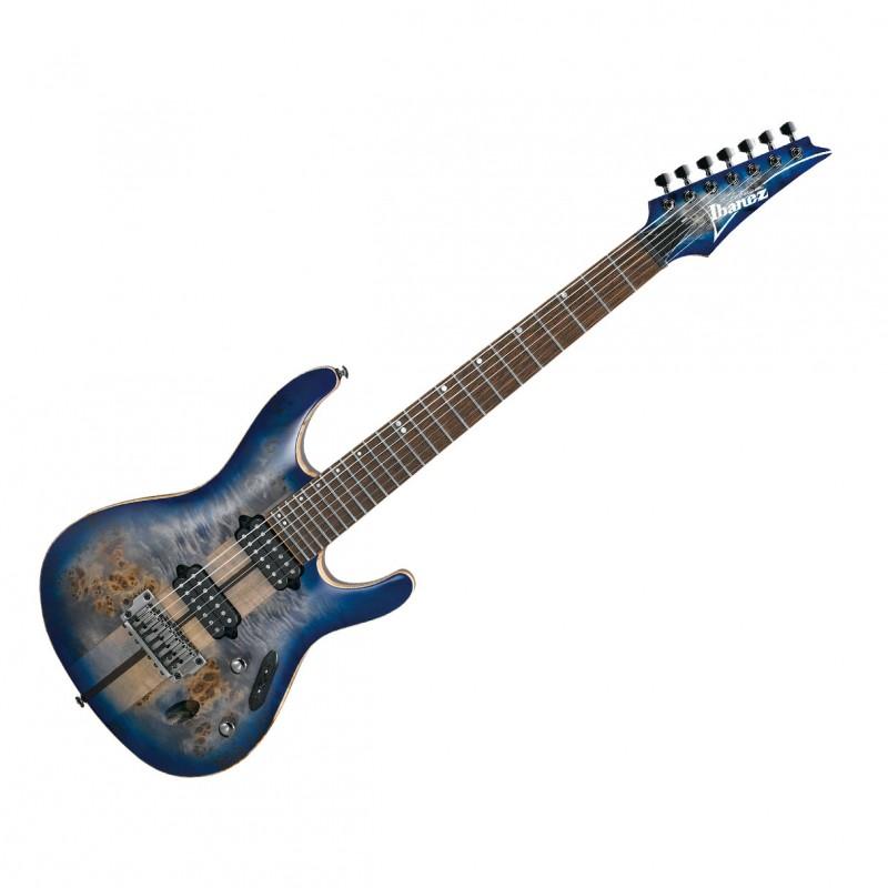 Ibanez S Premium 7 String Electric Guitar w/ Case - Cerulean Blue Burst