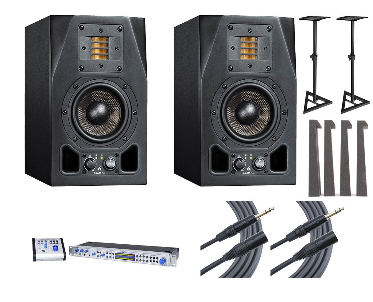 2x ADAM A3X + Central Station PLUS + Stands + MoPADs + Cables