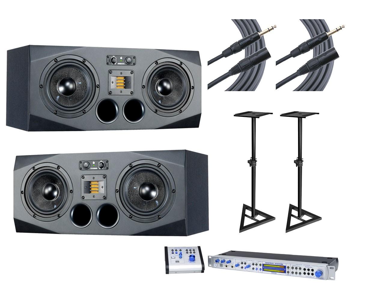 ADAM A77X L/R Pair + Central Station PLUS + Stands + Mogami Cables