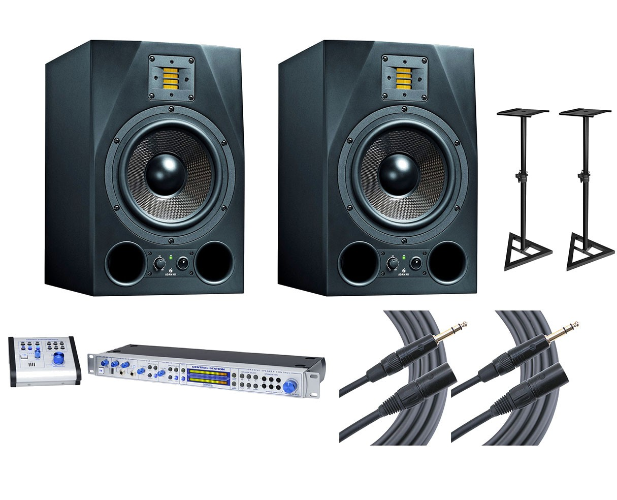 2x ADAM A8X + Central Station PLUS + Stands + Mogami Cables