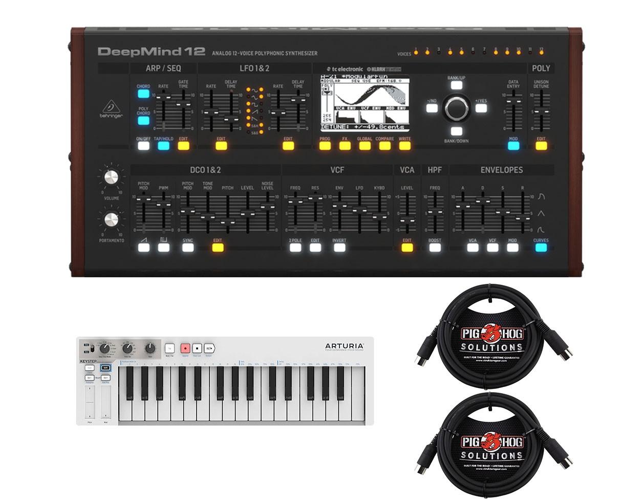 Behringer Deepmind 12 Desktop + Arturia Keystep + MIDI Cables
