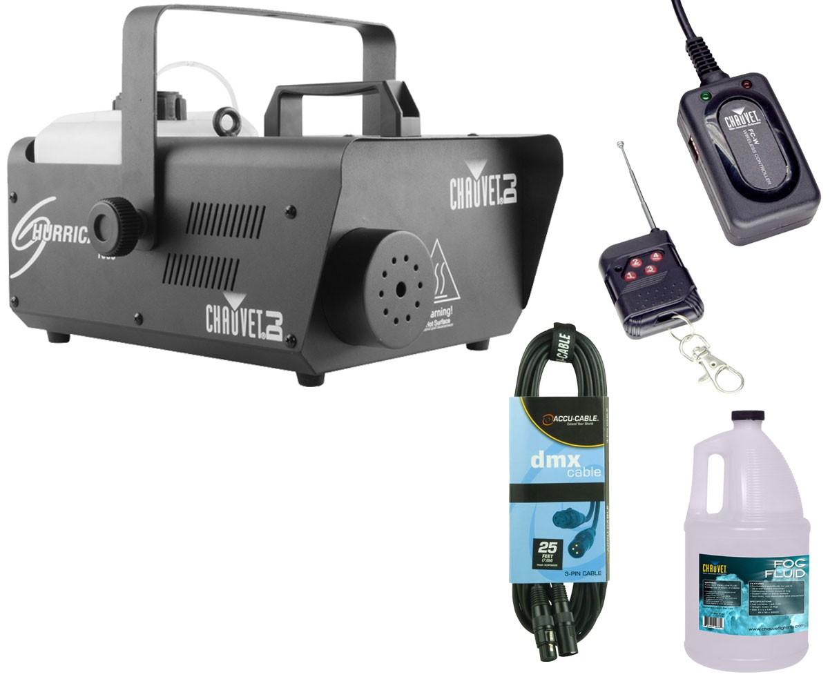 Chauvet Hurricane 1600 + Wireless Remote + Fluid Gallon + DMX Cable