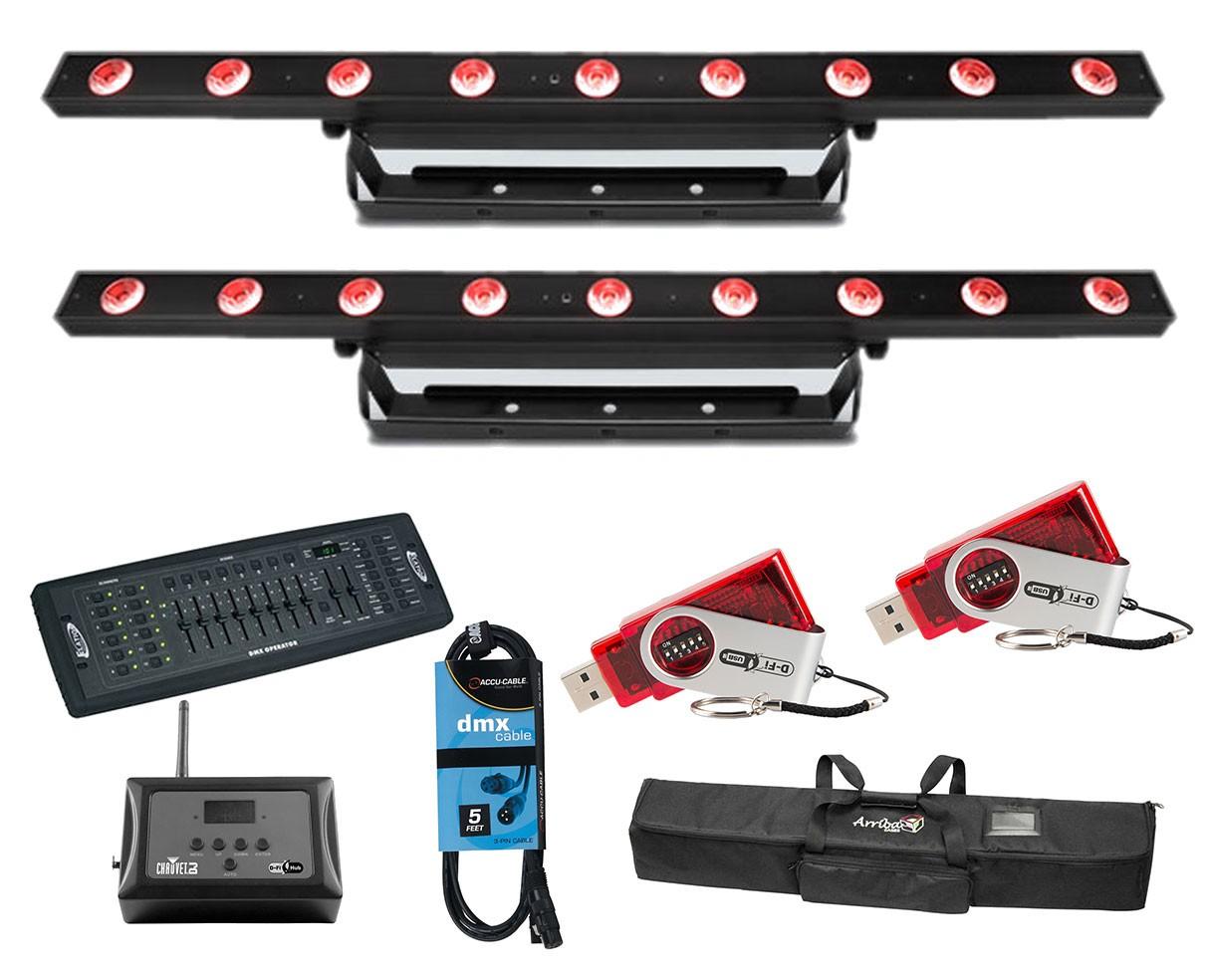 2x CHAUVET DJ COLORband H9 USB + Controller + D-Fi Hub and USB + Bag + Cable