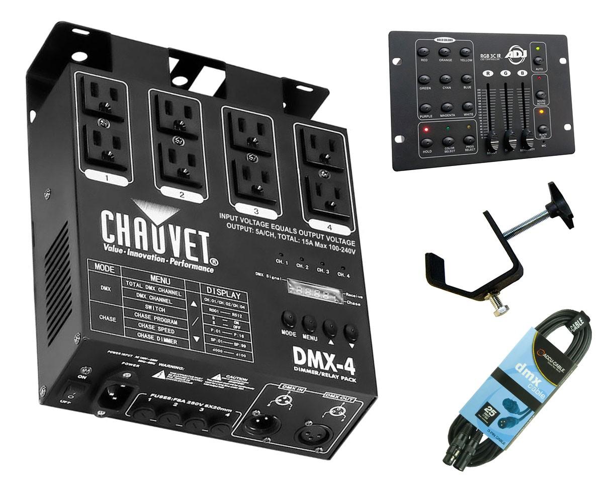 CHAUVET DJ DMX-4 + RGB3C IR + Clamp + Cable