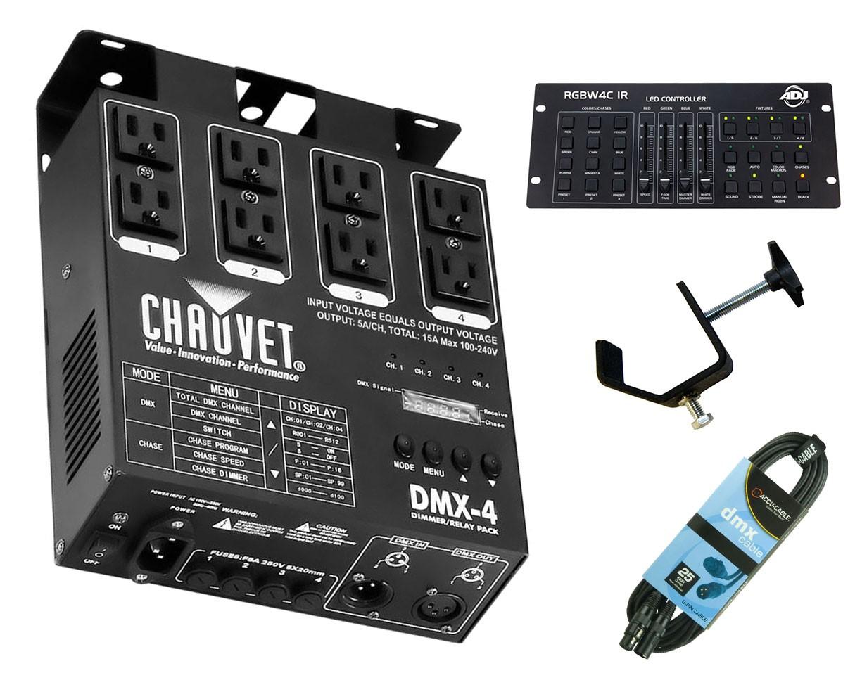 CHAUVET DJ DMX-4 + RGBW4C IR + Clamp + Cable
