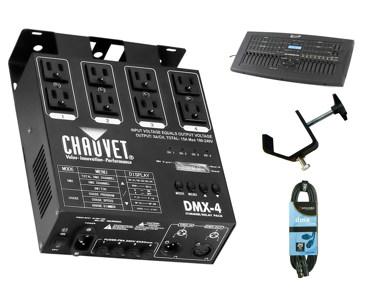 CHAUVET DJ DMX-4 + DMX Operator Pro + Clamp + Cable