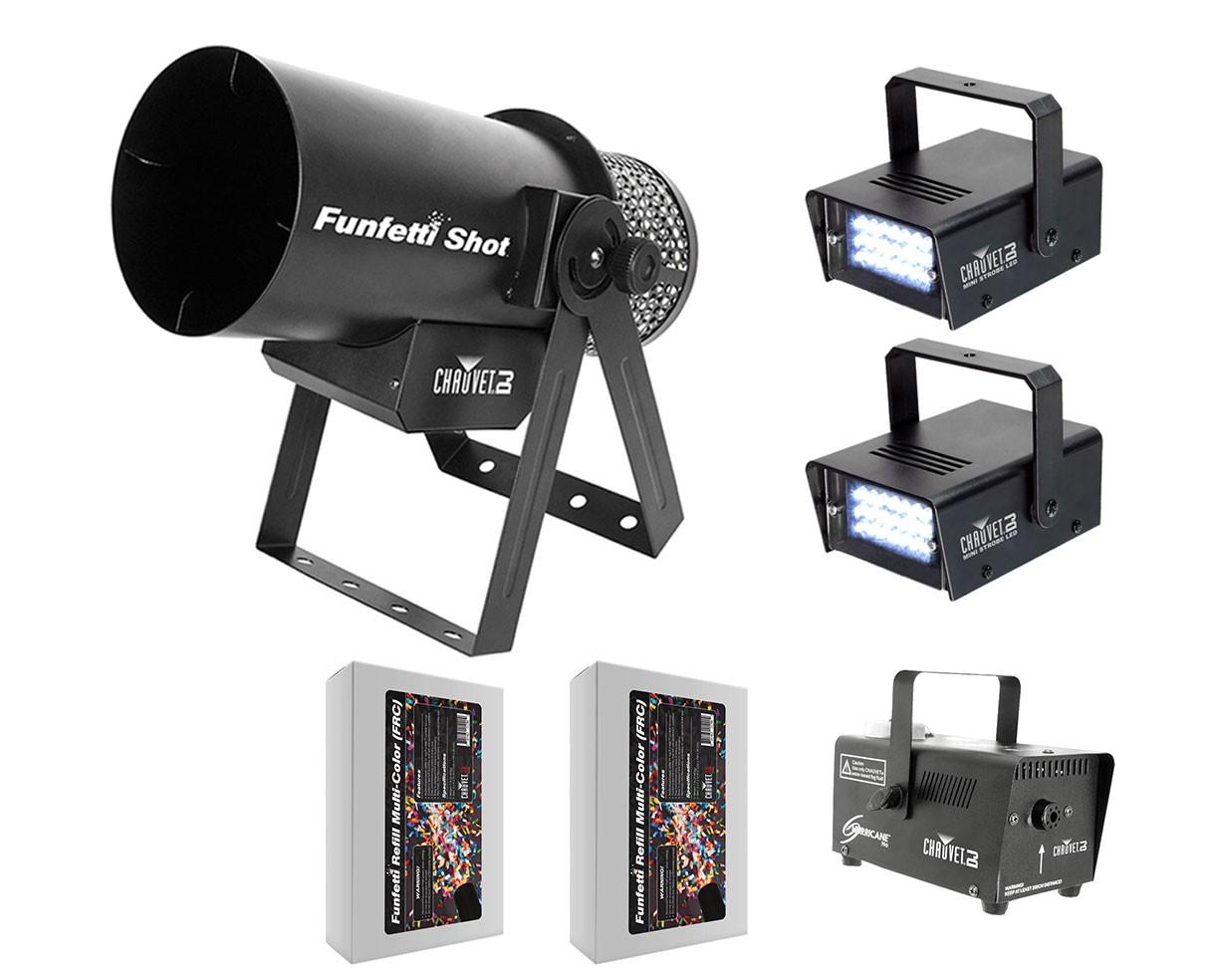 Chauvet Funfetti Shot + Fog Machine + Strobe Lights + 2x Color Confetti