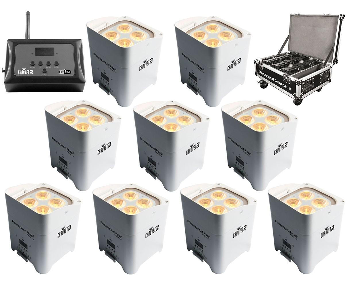 9x Chauvet Freedom Par Hex-4 White + Freedom Charge 9 + D-Fi Hub