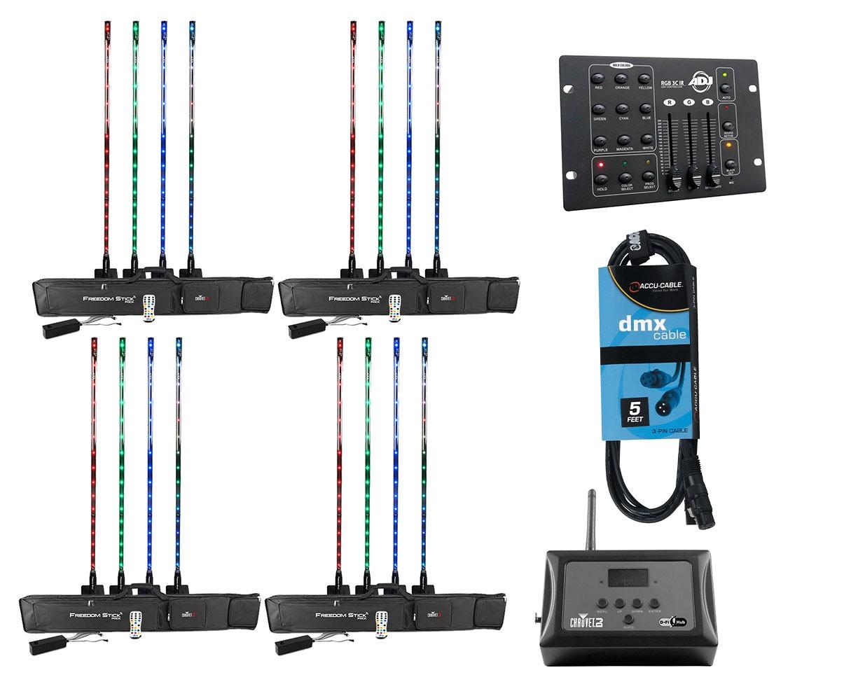 4x CHAUVET DJ Freedom Stick Pack + D-Fi Hub + RGB Controller + Cable