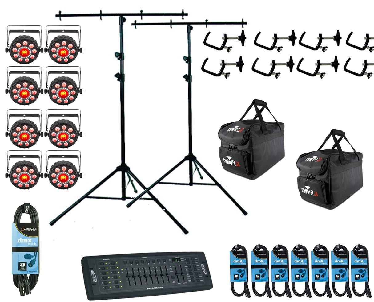8x Chauvet FXpar 9 + Controller + Clamps + Cables + Bags + Stands
