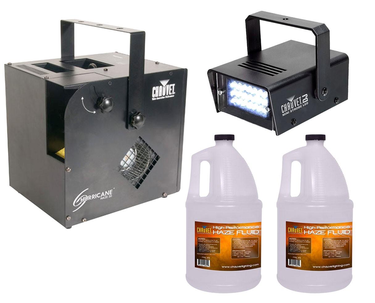 Chauvet Hurricane Haze 2D + Strobe Light + 2x Haze Fluid Gallon