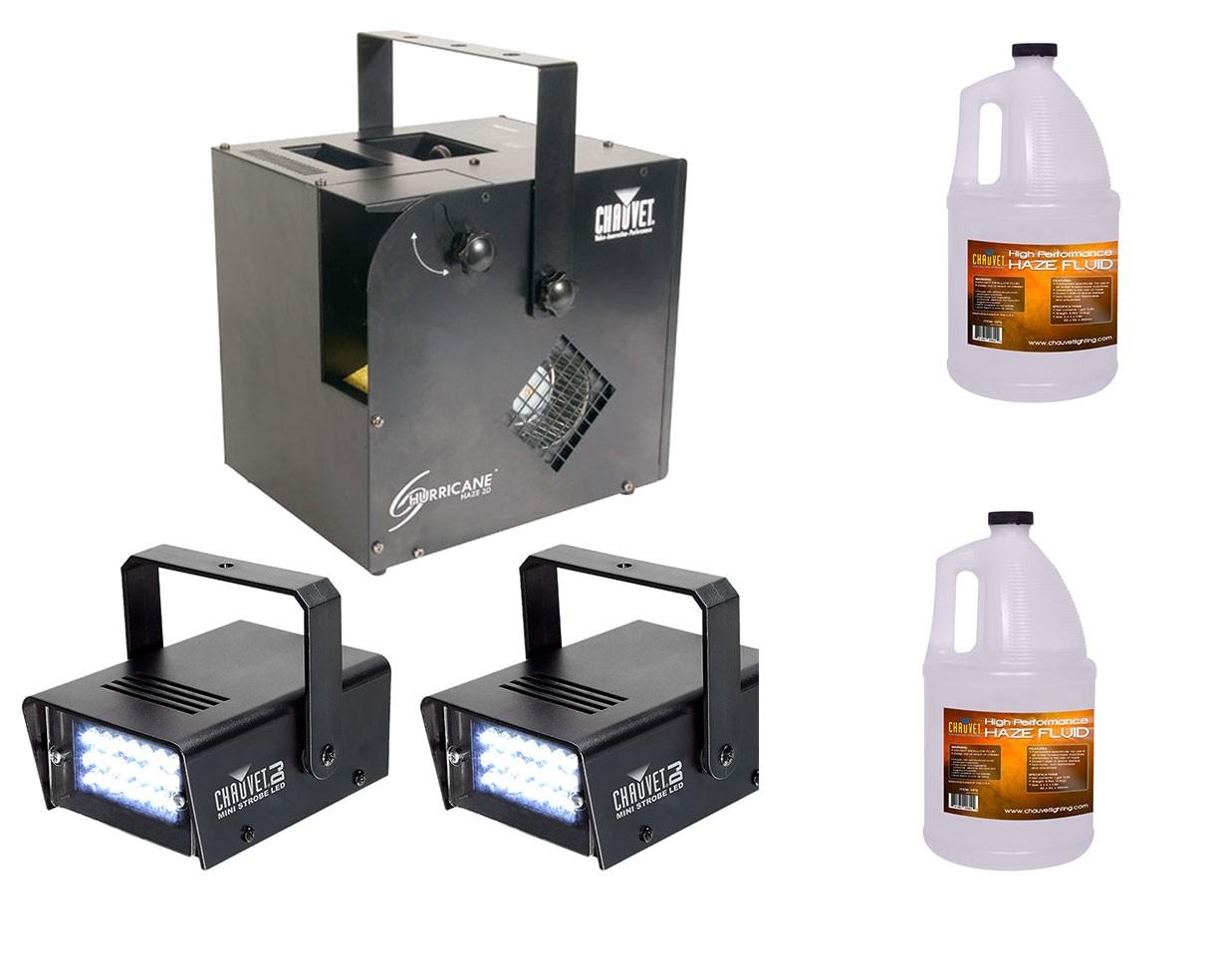 Chauvet Hurricane Haze 2D + Strobe Lights + Haze Fluid Gallon
