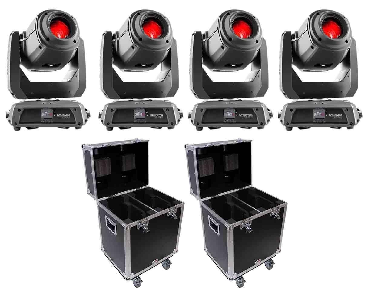 4x CHAUVET DJ Intimidator Spot 375Z IRC + Flight Cases