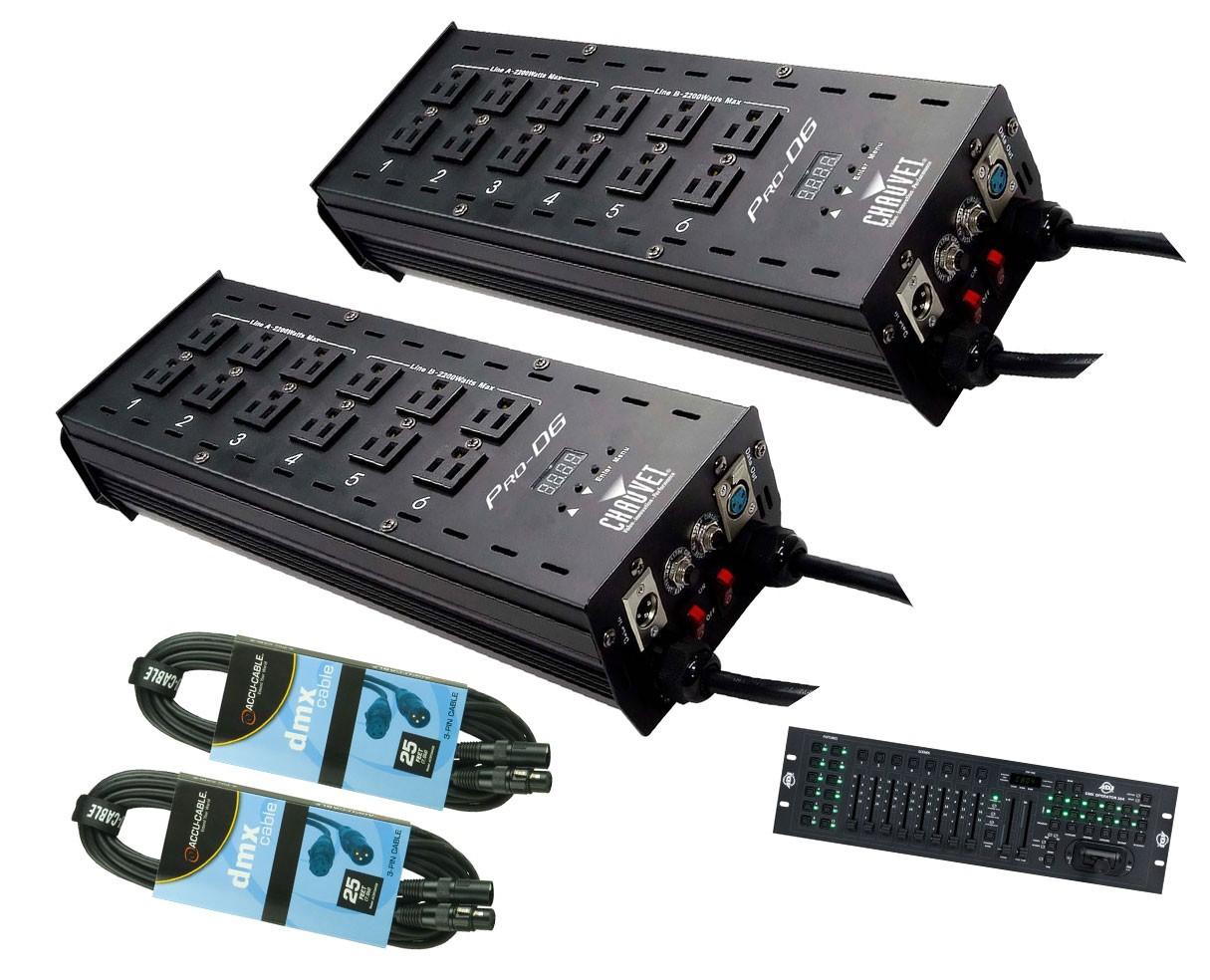 2x CHAUVET DJ Pro-D6 + DMX Operator 384 + Cables