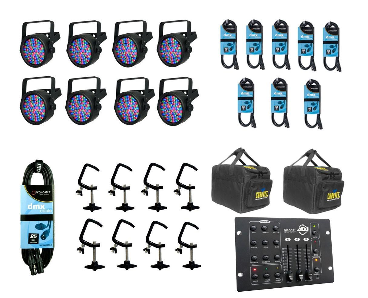 8x Chauvet SlimPAR 56 + Bags + Clamps + Controller + Cables