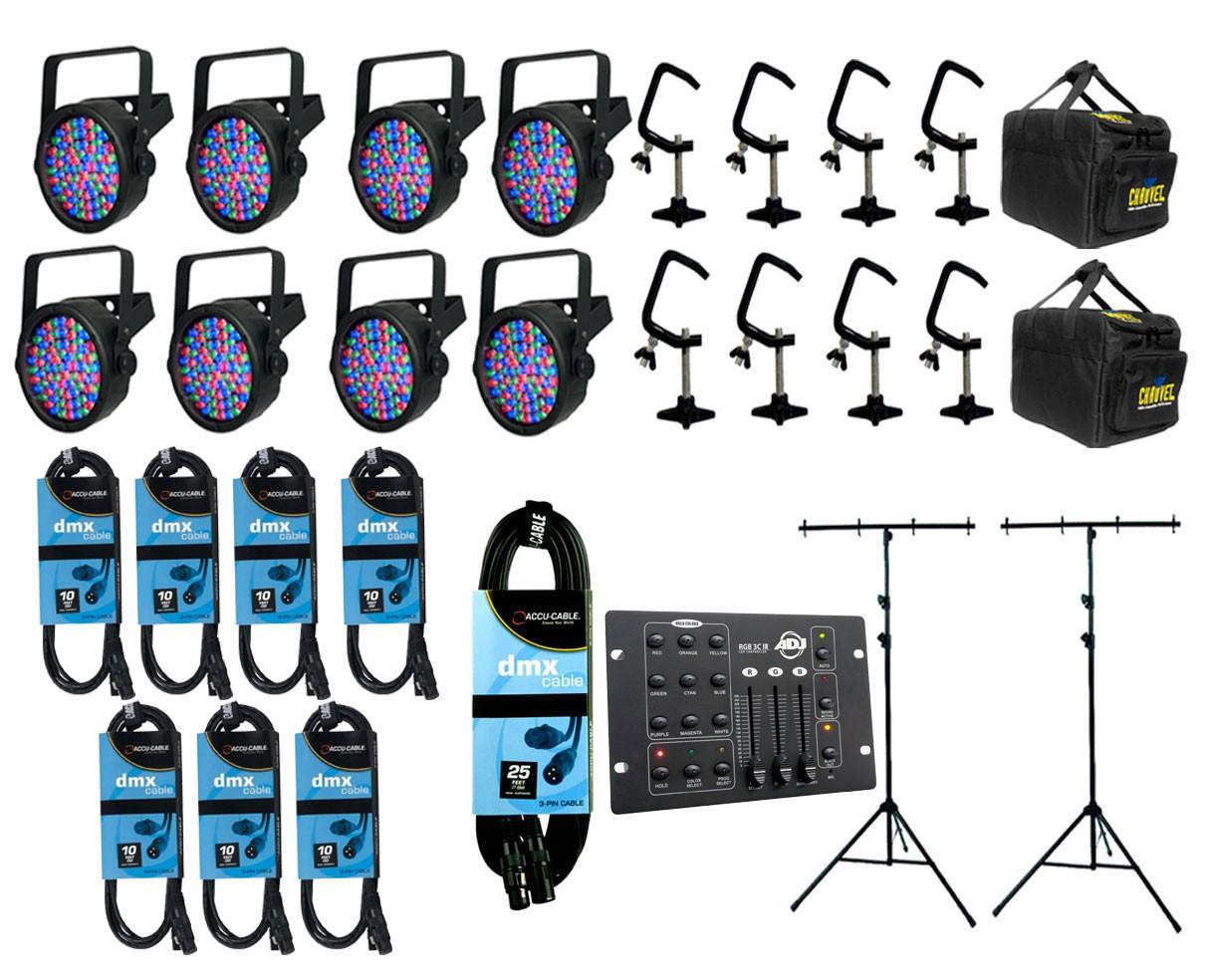 8x CHAUVET DJ SlimPAR 56 + Bags + Clamps + Controller + Cables & Truss