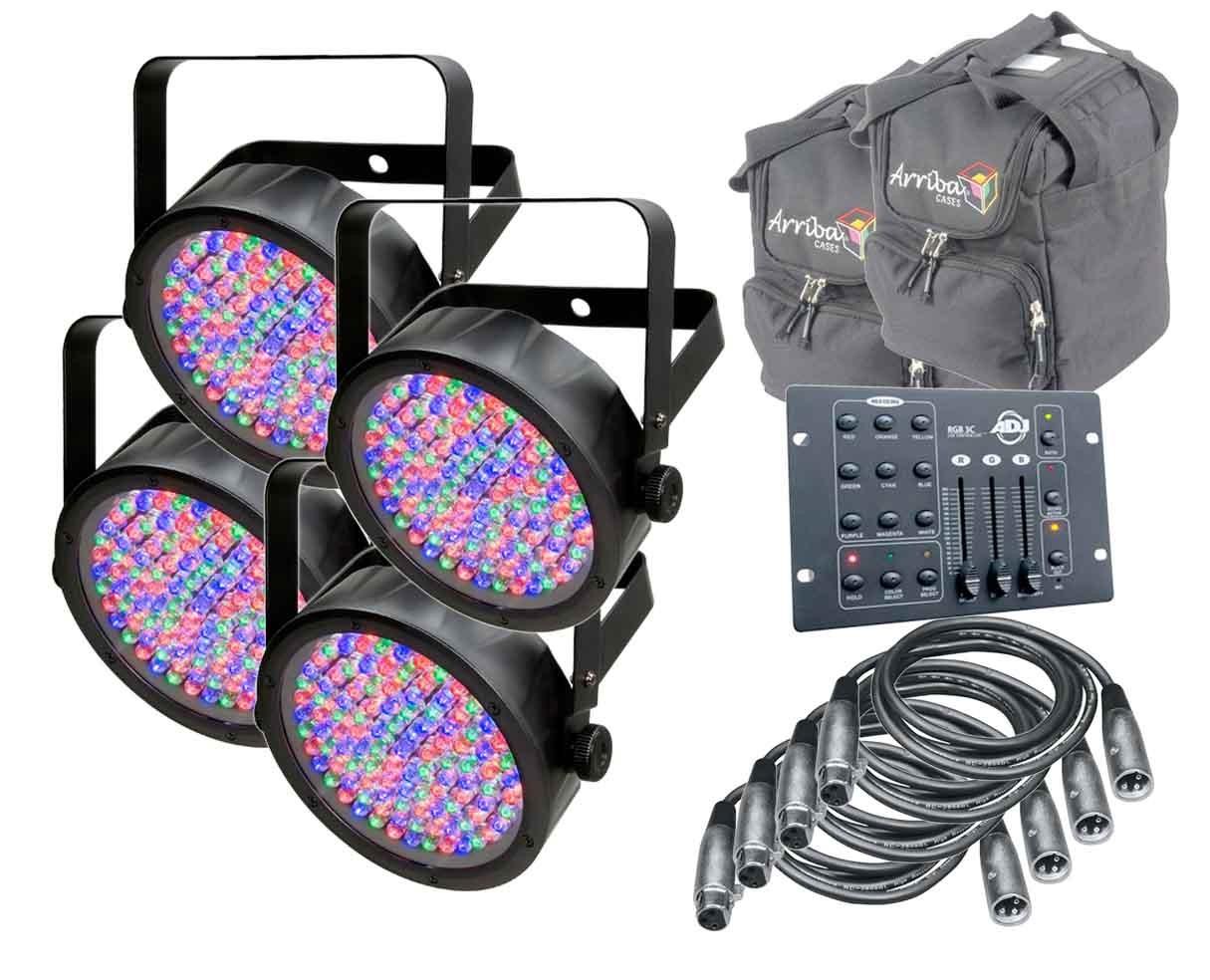 4x Chauvet SlimPAR 56 + RGB3CIR + Arriba Cases AC115 + 4 DMX Cables