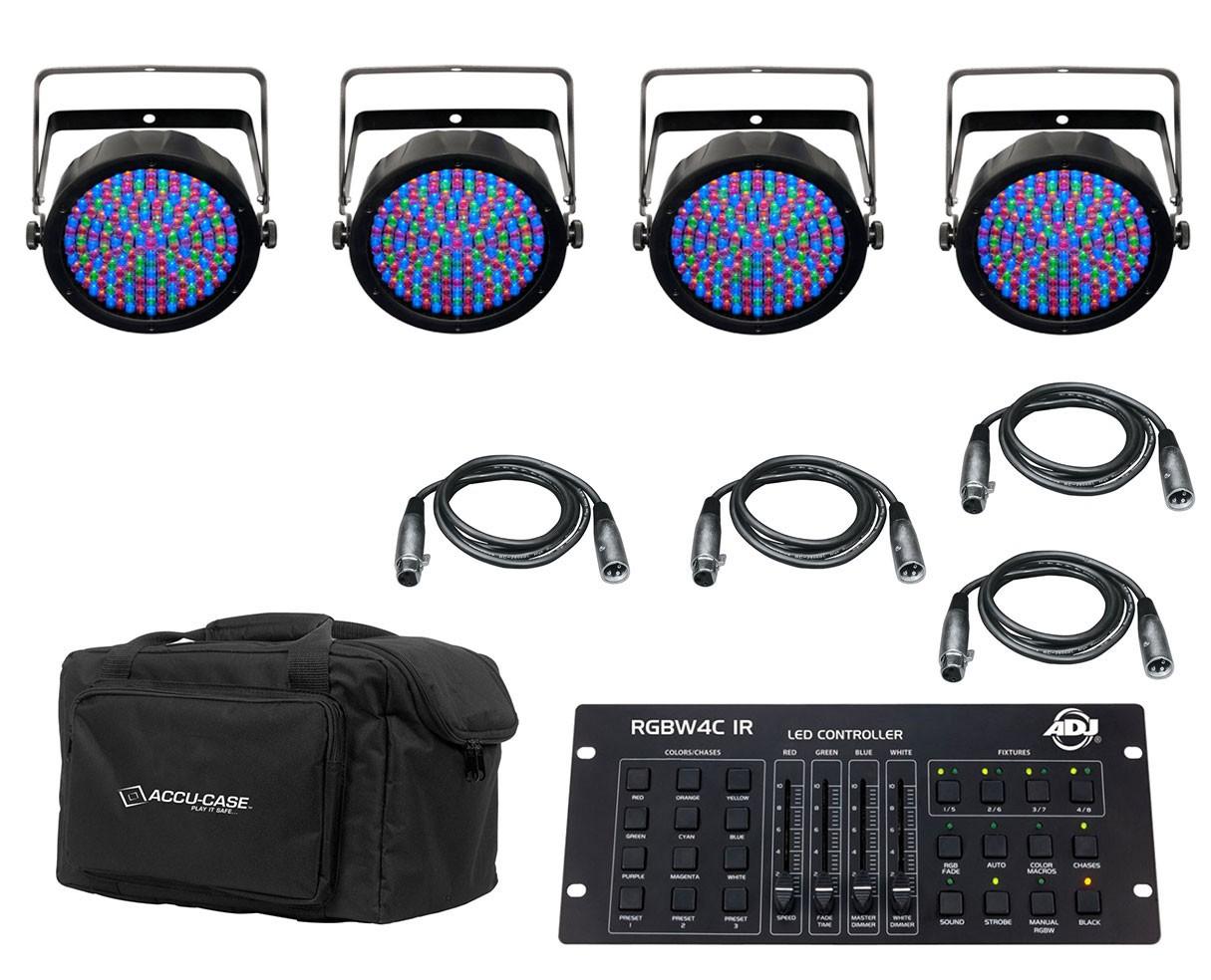 4x CHAUVET DJ SlimPAR 64 RGBA + Controller + Bag + Cables