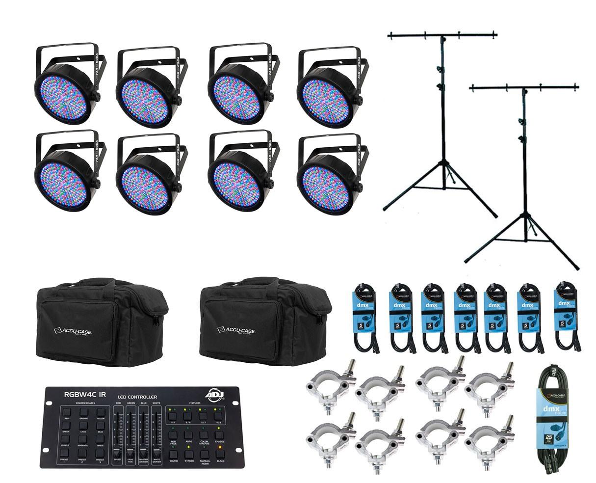 8x Chauvet SlimPAR 64 RGBA + Controller + Bags + Clamps + Cables + Stands