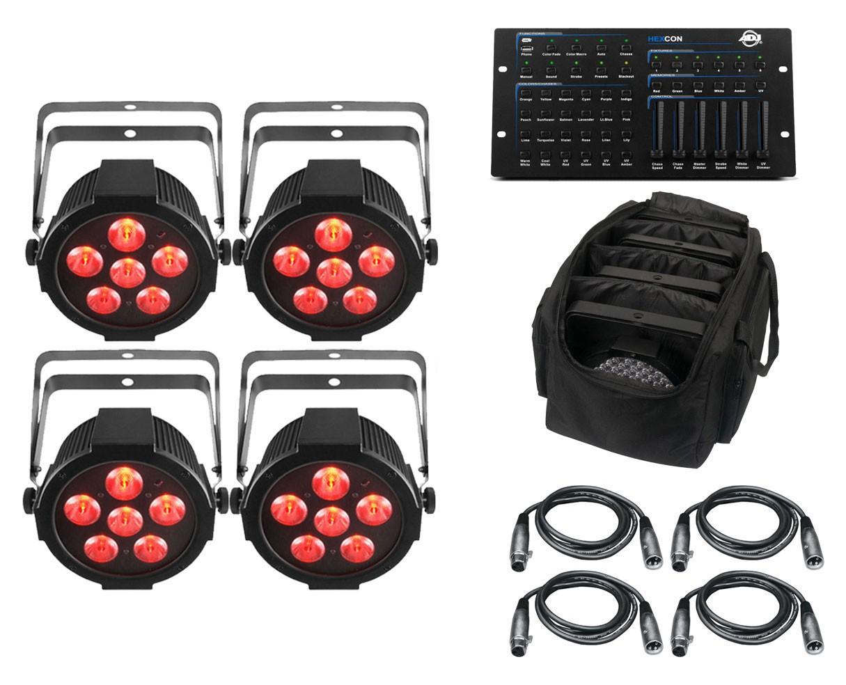 4x Chauvet SlimPAR H6 USB + ADJ Hexcon + Bag + Cables