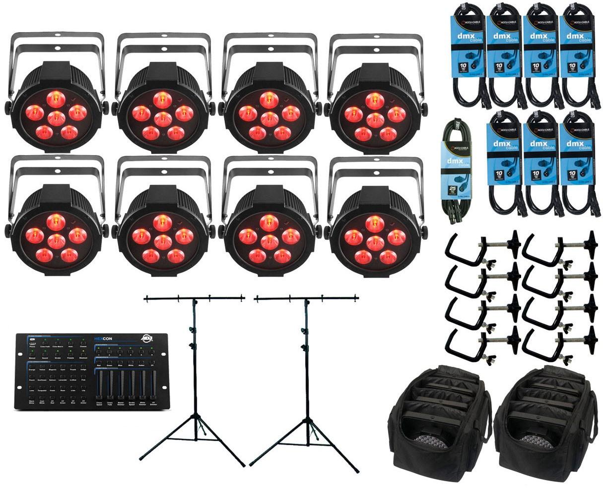 8x Chauvet SlimPAR H6 USB + ADJ Hexcon + Stands + Bags + Clamps + Cables