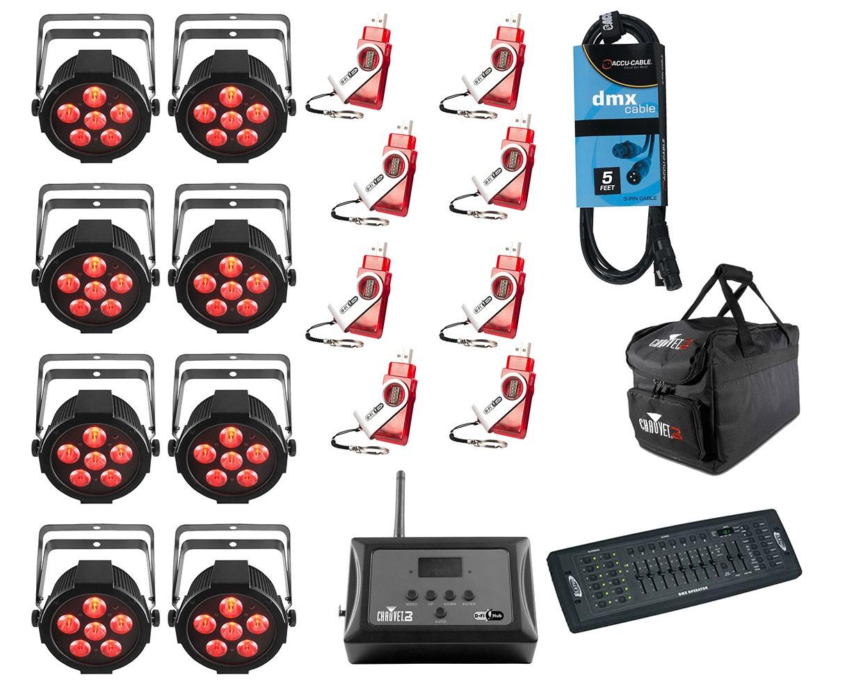 8x CHAUVET DJ SlimPAR H6 USB + D-Fi 8-Pack with Hub + Controller + Cable + Bags