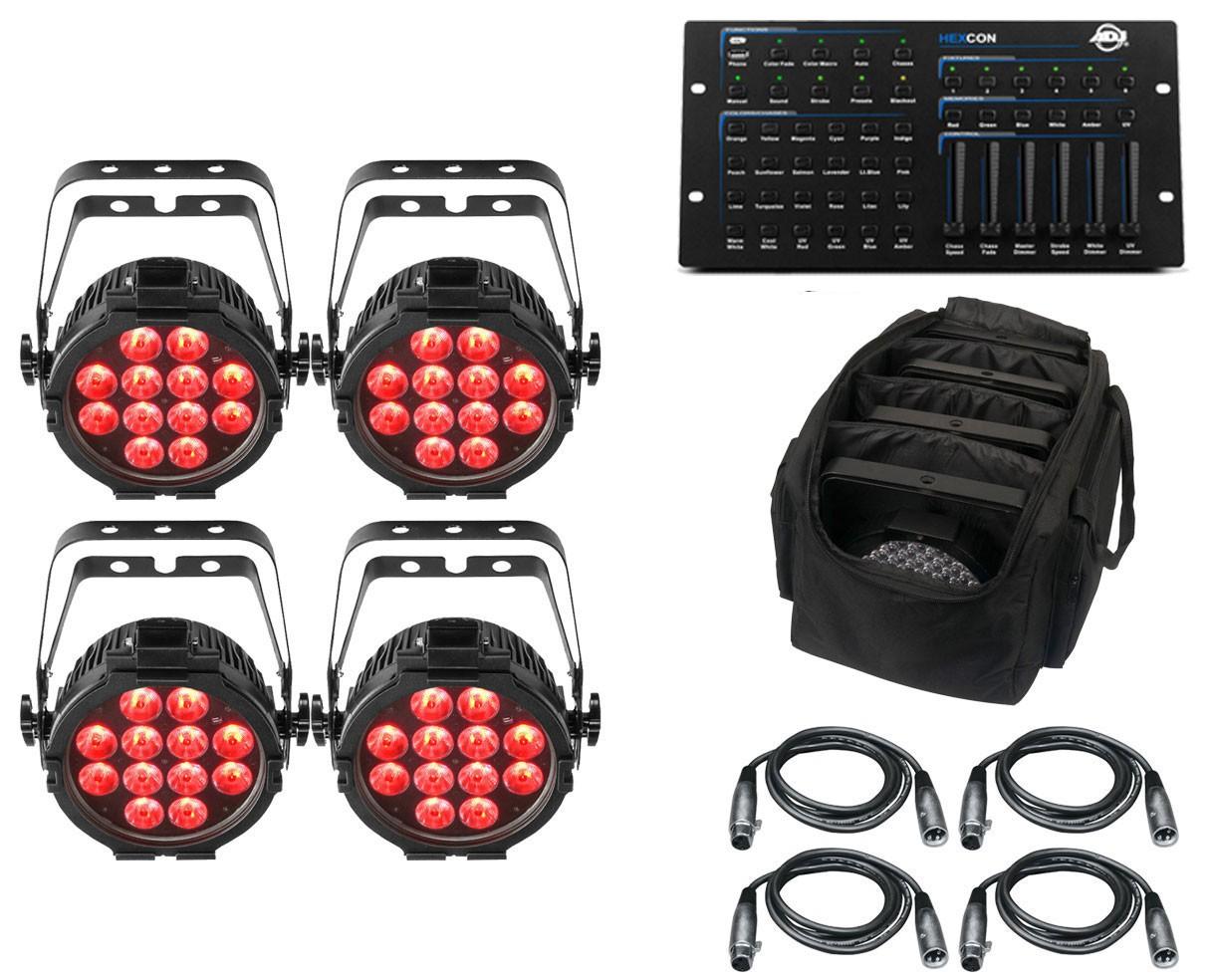 4x CHAUVET DJ SlimPAR Pro H USB + ADJ Hexcon + Bag + Cables