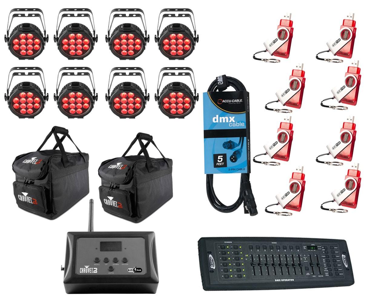 8x Chauvet SlimPAR Pro H USB + D-Fi 8-Pack with Hub + Controller + Cable + Bags