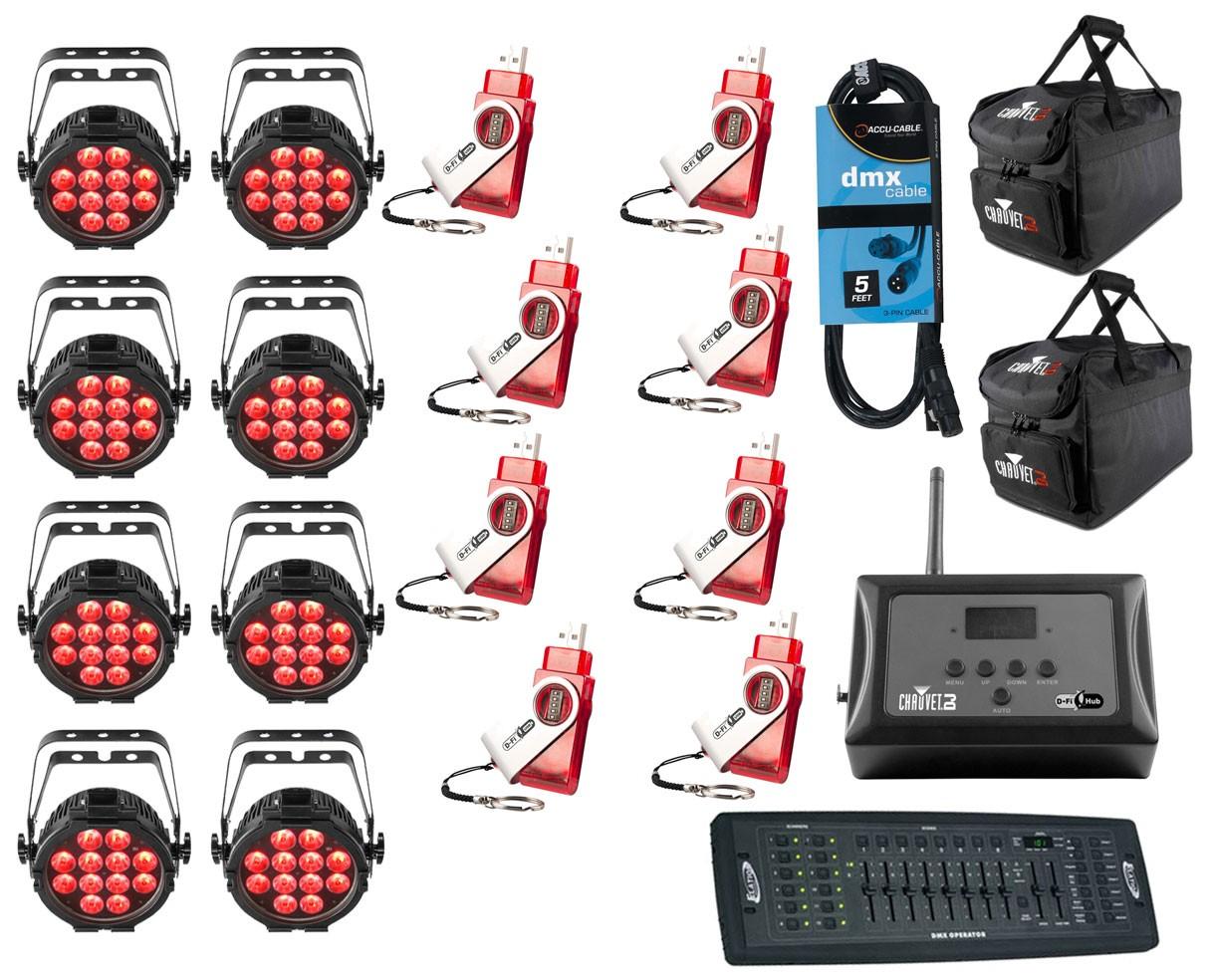 8x Chauvet SlimPAR Pro Q USB + D-Fi 8-Pack with Hub + Controller + Cable + Bags