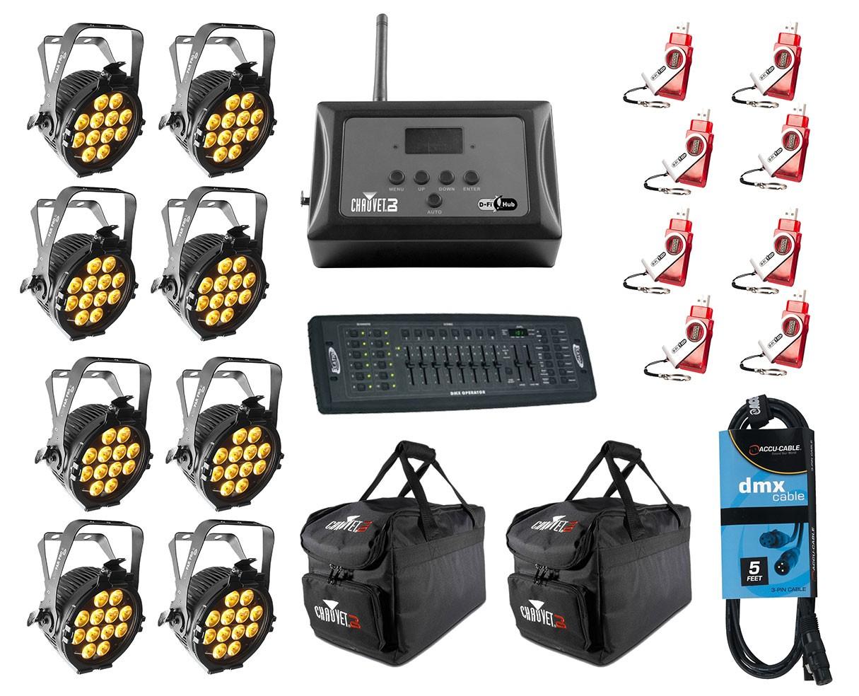 8x CHAUVET DJ SlimPAR Pro W USB + D-Fi 8-Pack with Hub + Controller + Cable + Bags