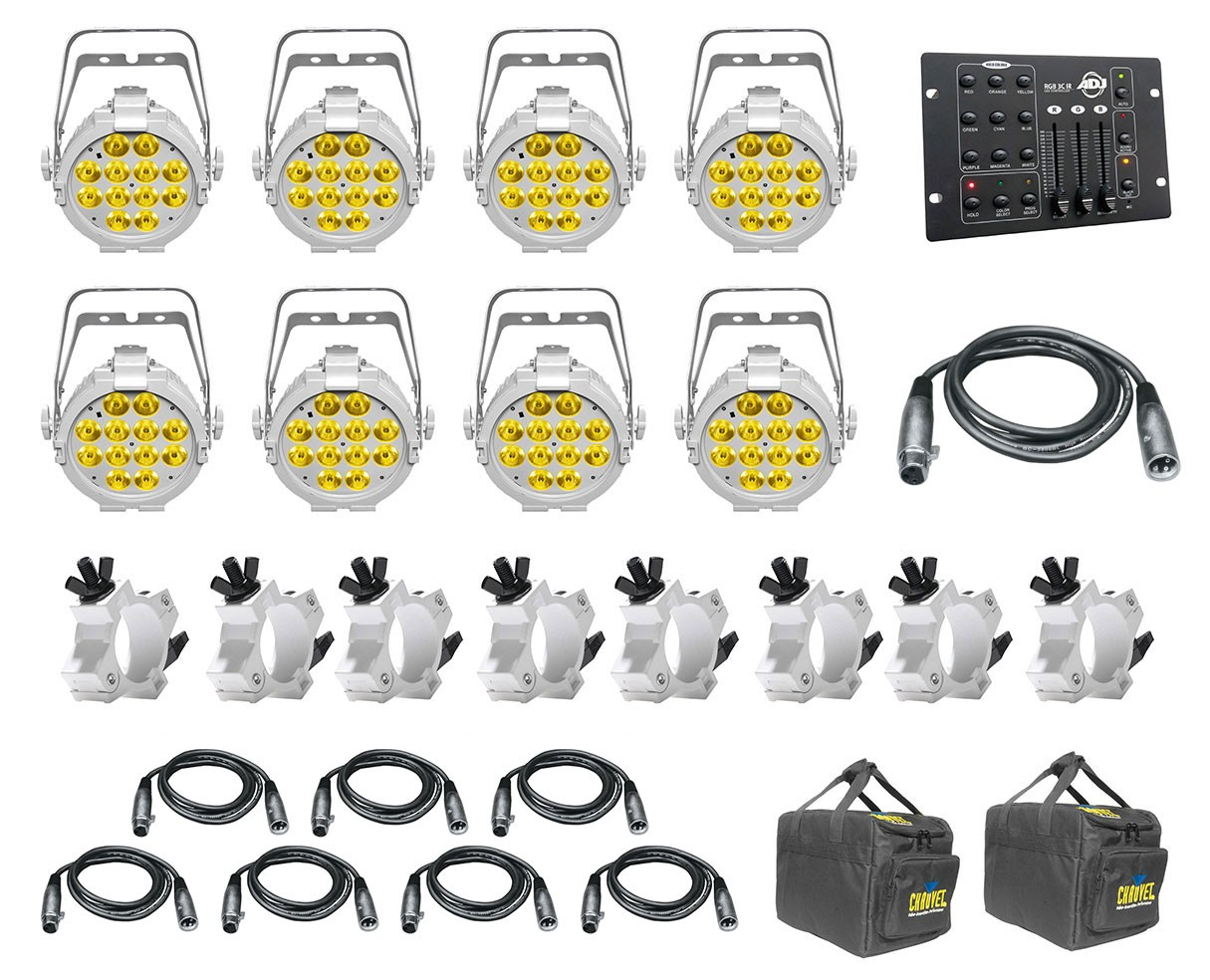 8x CHAUVET DJ SlimPAR Pro W USB White + Bags + Clamps + Controller + Cables