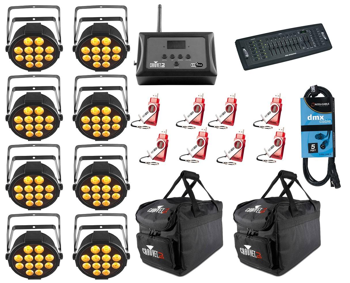 8x CHAUVET DJ SlimPAR Q12 USB + D-Fi 8-Pack with Hub + Controller + Cable + Bags