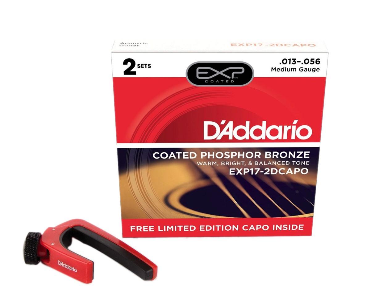D'Addario EXP17 Coated Phosphor Bronze Medium Acoustic Guitar Strings 2 Sets w/Capo