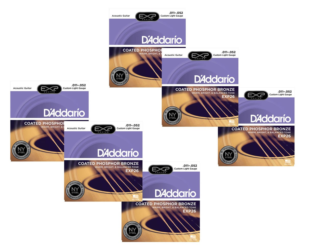D'Addario EXP26 Coated Phosphor Bronze Custom Light Acoustic Strings 6-Pack