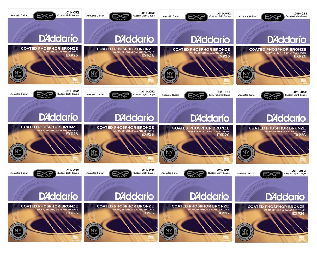 D'Addario EXP26 Coated Phosphor Bronze Custom Light Acoustic Strings 12-Pack