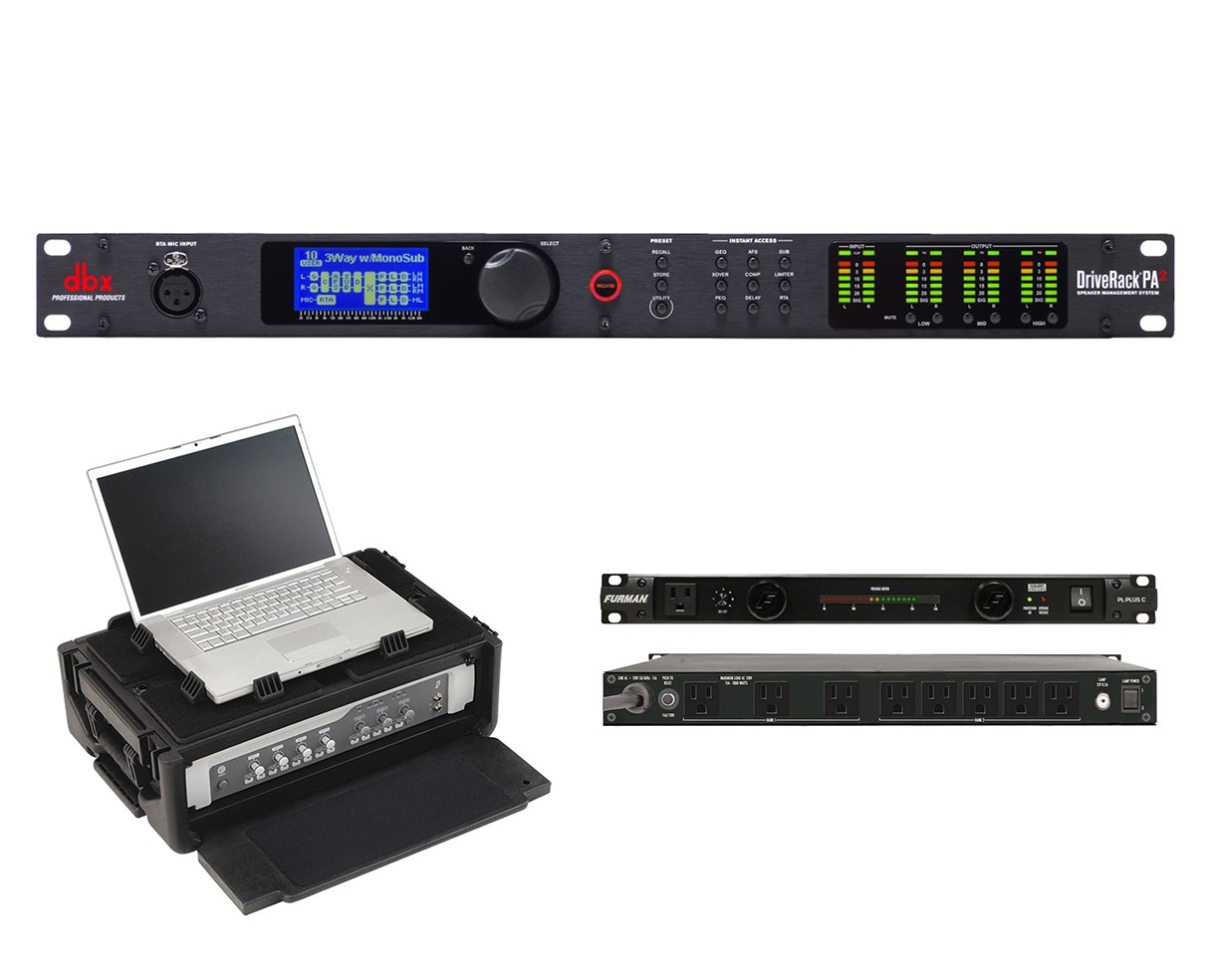 dbx DriveRack PA2 + SKB 1SKB19-RSF2U + Furman PL-Plus C