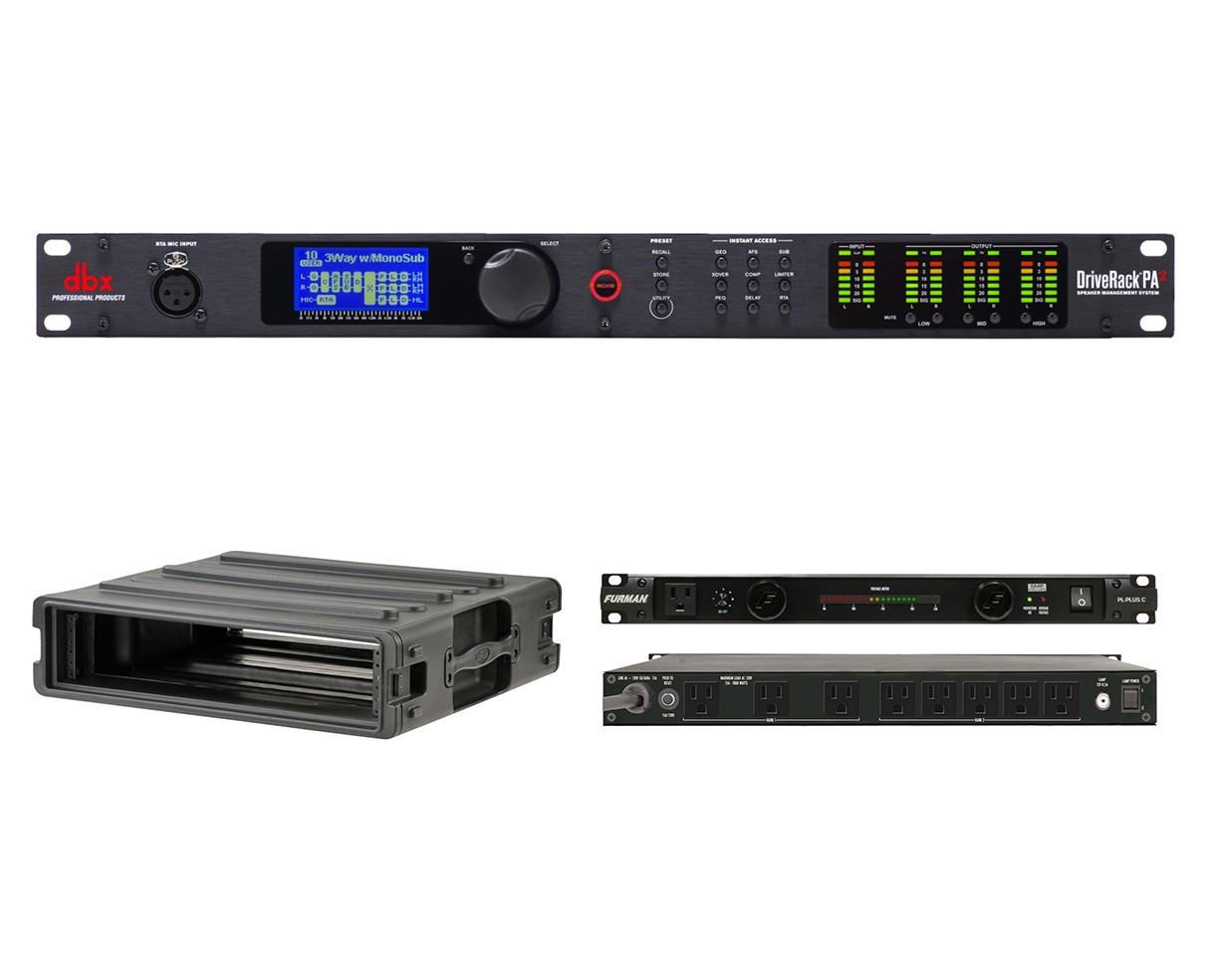 dbx DriveRack PA2 + SKB 1SKB-R2U + Furman PL-Plus C