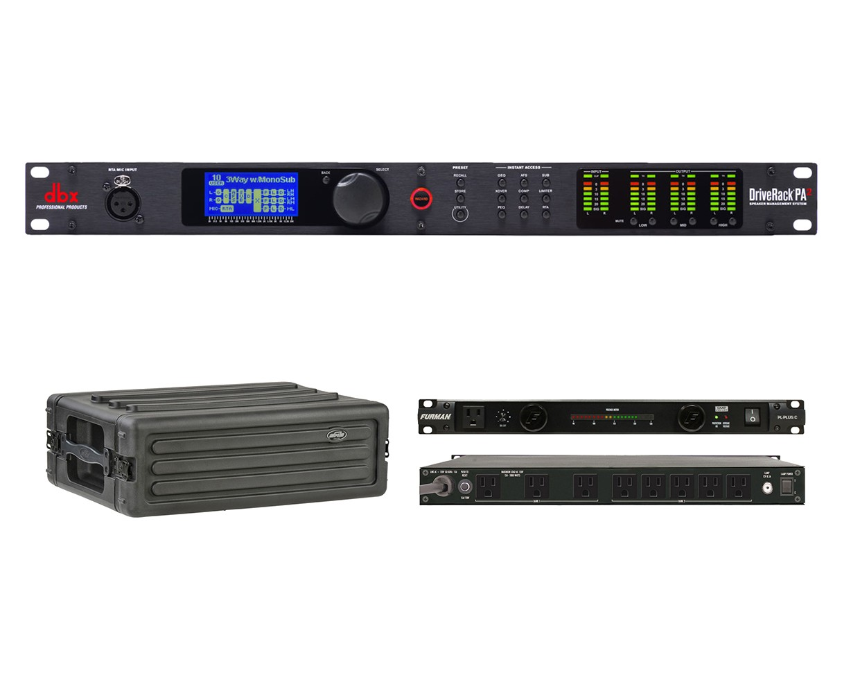 dbx DriveRack PA2 + SKB 1SKB-R3S + Furman PL-Plus C