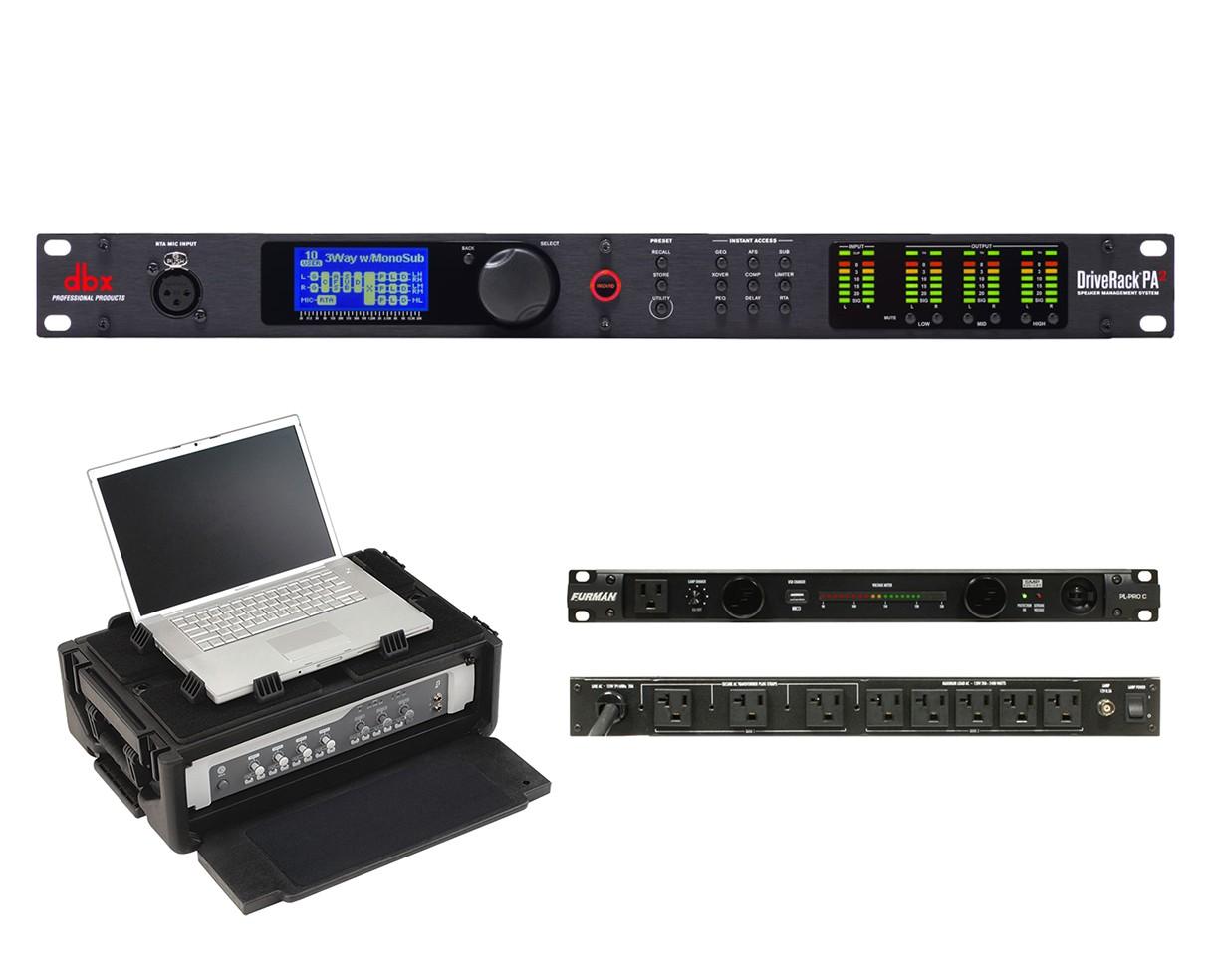 dbx DriveRack PA2 + SKB 1SKB19-RSF2U + Furman PL-Pro C