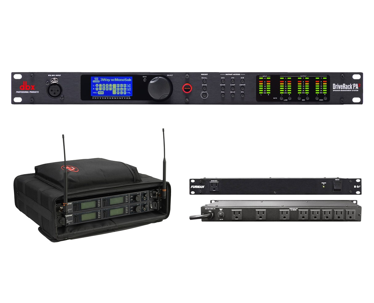dbx DriveRack PA2 + SKB 1SKB-SC192U + Furman M-8x2