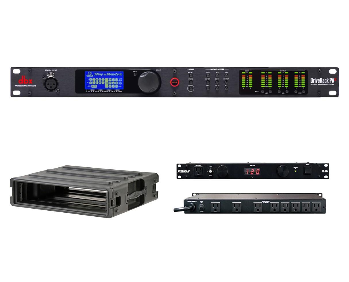dbx DriveRack PA2 + SKB 1SKB-R2U + Furman M-8Dx